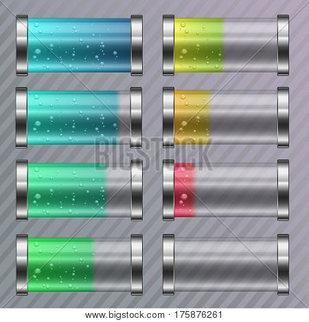 Discharged and fully charged colored vector battery. Beautiful battery set charge level indicators isolated on the striped background. Colored liquid with bubbles