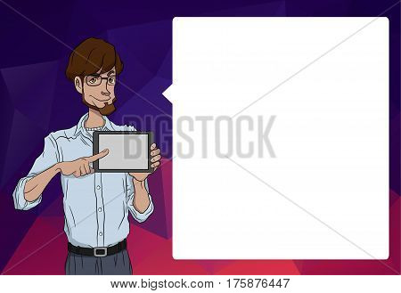 Mobile tablet with notification. Characters with bubble talk. Vector tablet with mobile app. Characters speech of mobile tablet. Man with online notification of app. Man with mobile tablet