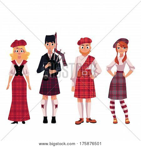 Scottish people in traditional national costumes, tartan berets and kilts, cartoon vector illustration isolated on white background. Set of Scottish people, men and women, in tartan, plaid and kilts
