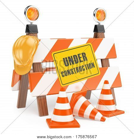 3d illustration. 3D Under construction fence with a hard hat and cones. Isolated white background.