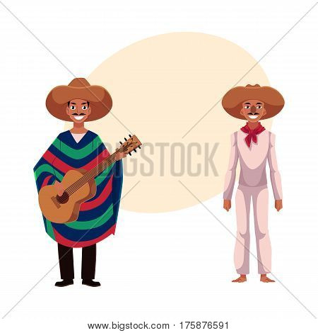 two Mexican man in traditional national sombrero and poncho playing guitar, cartoon vector illustration with place for text. two Full length portrait of Mexican man in national clothes