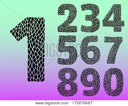 Vector numbers set. Vector design template elements. Set abstract numeric font numbers for abstract art