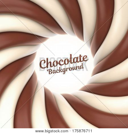Chocolate swirl background with place for your content. Vector illustration Eps 10