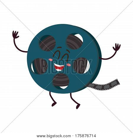 Cute and funny motion picture, cinema film reel character with smiling human face, cartoon vector illustration isolated on white background. Smiling movie, cinema film reel character, mascot