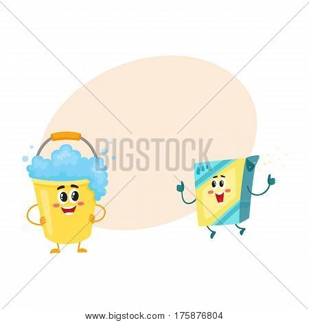 Funny washing powder, laundry detergent and soap foam bucket characters with smiling human faces, cartoon vector illustration with place for text. Washing powder, soap foam bucket characters