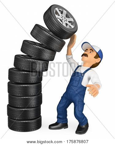 3d working people illustration. Mechanic with a pile of tires falling on top. Work accidents. Isolated white background.