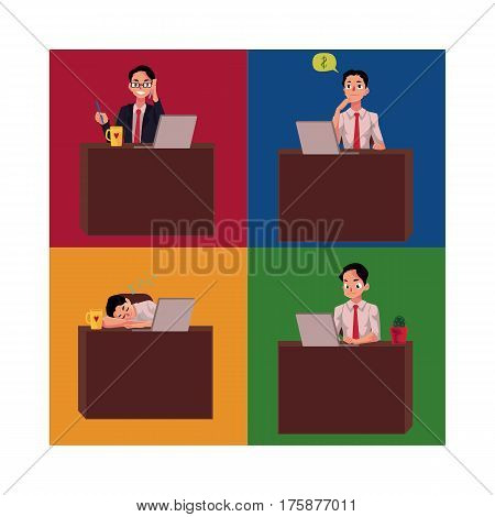 Businessman sitting at office desk, working on laptop, talking by mobile phone, having nap, cartoon vector illustration four situations. Businessman, employee working at office desk