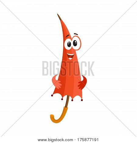 Cute and funny red folded, closed umbrella character with smiling human face, cartoon vector illustration isolated on white background. Closed umbrella, parasol character, mascot, design element