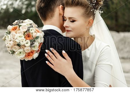 Happy Bride Hugging Stylish Groom And Smiling,tender Moment, Luxury Wedding