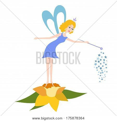 Cartoon Fairy with a magic wand on a flower. Vector illustration of Fairy for children, children coloring books, children pictures.