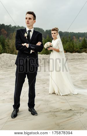 Happy Bride And Stylish Groom Posing And Smiling, Luxury Elegant Wedding