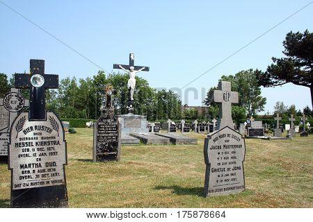 Netherlands Ameland Buren july 2016: graveyard of the island