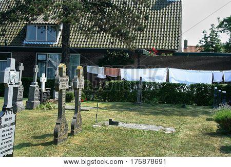 Netherlands Ameland Bure njuly 2016: graveyard of the island