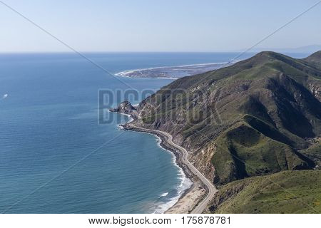 Aerial view of Pacific Coast Highway at Point Mugu between Malibu and Oxnard California.