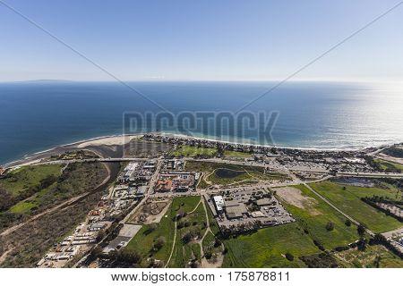 Aerial view of the Pacific Coast in Malibu California.