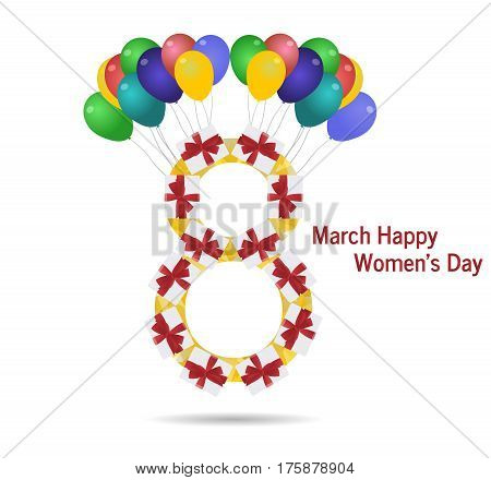 International womens day.The eighth of March bow