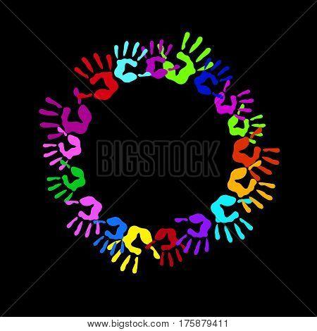 vector color hand handprint human print symbol finger illustration art