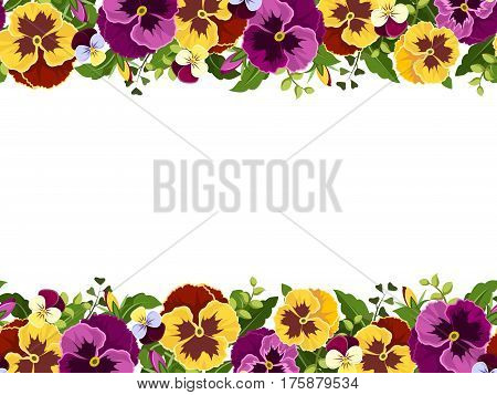 Vector horizontal seamless frame with yellow and purple pansy flowers and green leaves.