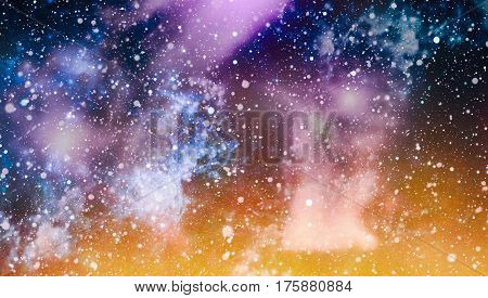 Panoramic looking into deep space. Dark night sky full of stars. The nebula in outer space.