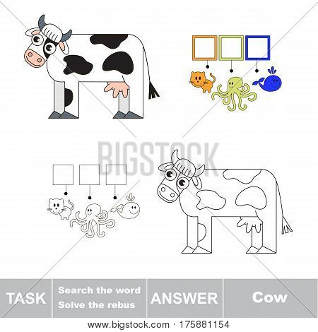 Educational rebus game for preschool kids with easy game level to find solution and write the hidden word in grid cells - Cow