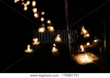 Romantic Candle Light In Glass Lanterns  At Luxury Wedding Ceremony In Evening, Decor And Arrangemen