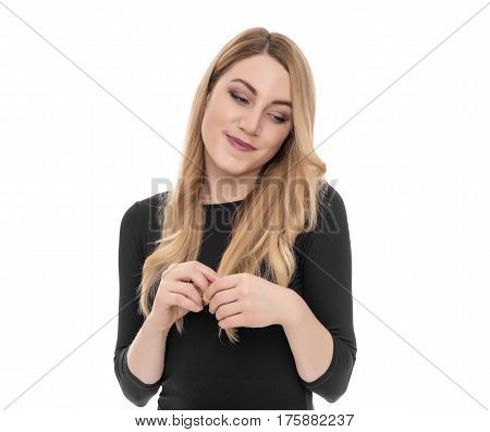 Portrait of Embarrassed blonde isolated on white.