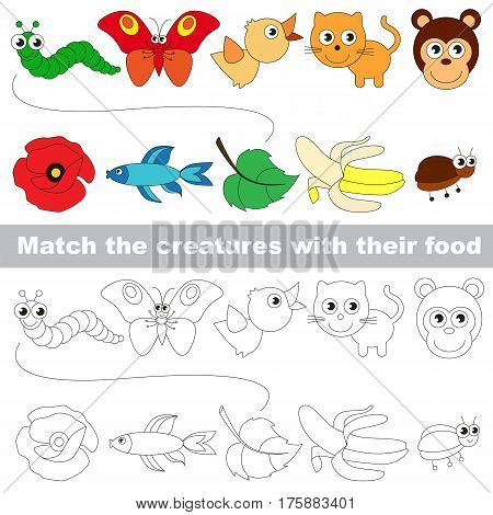 Pets set to find the appropriate couple of objects, to compare and connect objects and their relevant pairs, the matching educational kid game with simple gaming level for preschool kids.