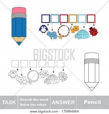 Educational puzzle game for kids. Find the hidden word Pencil.