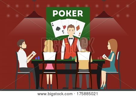 Playing poker in casino. People sit in the casino at the playing table and play poker.