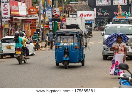 Mirissa, Sri Lanka - January 01, 2017: Tuk-tuk Moto Taxi On The Street. Famous Thai Moto-taxi Called