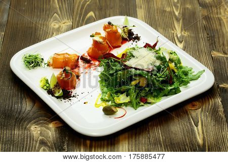 Red Fish Rolls And Salad