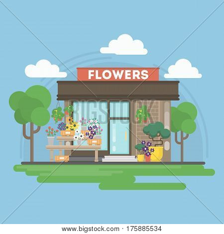 Isolated flowers building. Isolated urban building with sign and storefront. City landscape with clouds and trees.