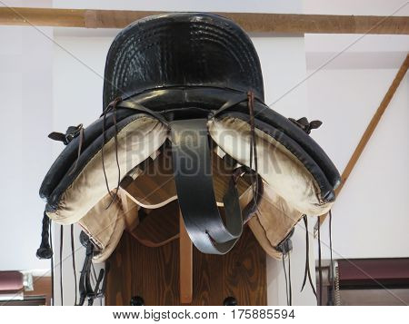 Traditional Andalusian riding saddle on display in local bar