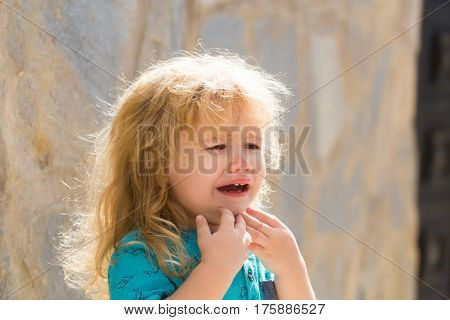 Cute Unhappy Baby Boy Crying
