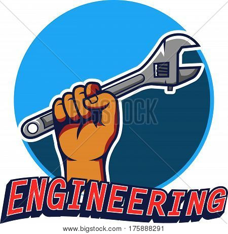 Vector illustration of hand grab wrench engineering badge