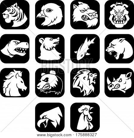 Vector illustration of animal head flat icon black button