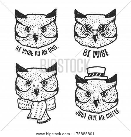 Hand drawn cartoon owl head prints set. Cute hand crafted design elements for apparel prints, posters, wall decor. Vector vintage illustration.