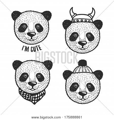 Hand drawn cartoon panda head prints set. Cute hand crafted design elements for apparel prints, posters, wall decor. Vector vintage illustration.