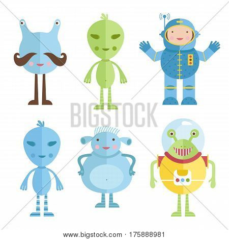 Space characters cartoon icons. Cute mustached, green, blue, dressed in spacesuit aliens and astronaut  vectors set isolated on white background. For childrens book illustrating, greeting card design