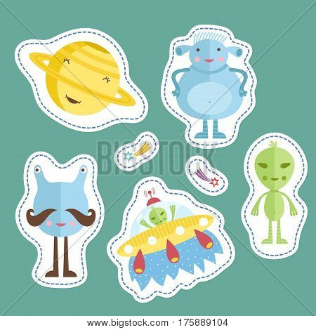 Space cartoon stickers. Smiling planet Saturn, funny aliens, flying saucer, falling star or comet vector illustrations isolated on turquoise background. Counters or tokens for table games, price tags