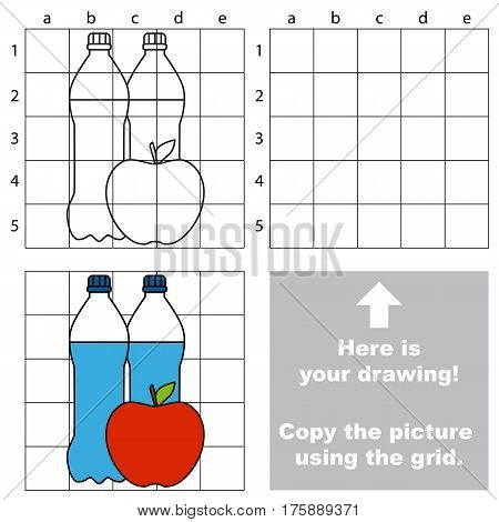 Copy the picture using grid lines, the simple educational game for preschool children education with easy level, the kid drawing game with Water And Apple