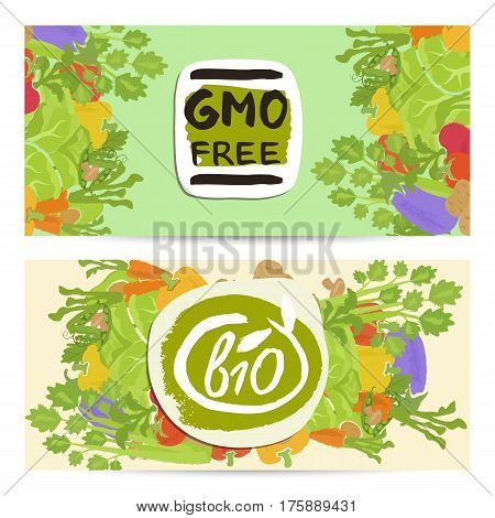 GMO free horizontal flyers set vector illustration. Natural cabbage, tomato, radish, mushroom, peppers, potatoes, carrots. Vegetarian organic raw food, healthy lifestyle, bio and eco nutrition concept