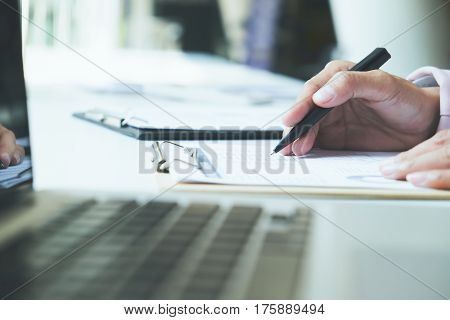 Young Startup Businessman Hands Typing On Laptop Keyboard.