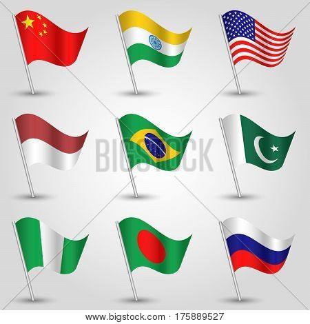 vector set of nine waving flags of states with biggest population on silver pole - icon of country china india united states of america indonesia brazil pakistan nigeria bangladesh and russia