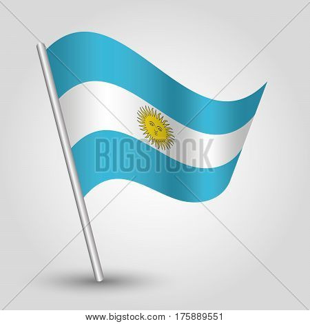 vector waving simple triangle argentine flag on slanted silver pole - icon of argentina with metal stick