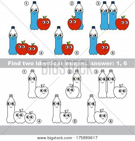 Find design difference, the task is to find similar objects, the educational kid matching game for preschool kids with easy gaming level to compare items and find two same Water Bottles and Apples.