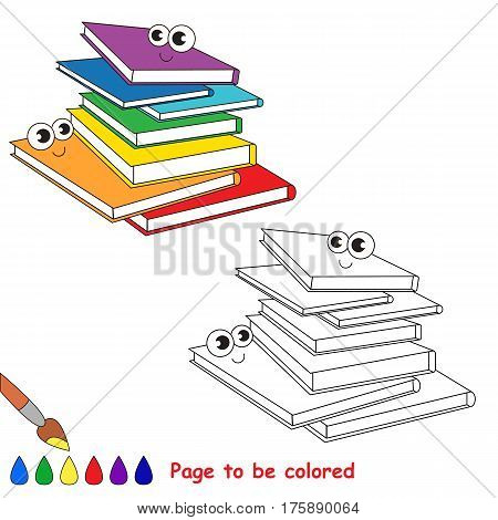 Many Books to be colored, the coloring book for preschool kids with easy kid educational gaming and primary education of simple game level.