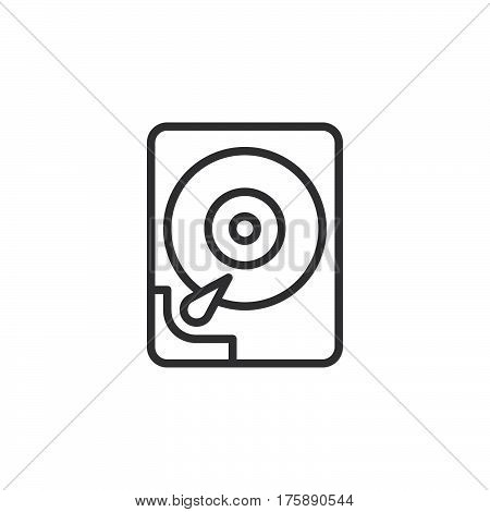 Hard disk drive line icon outline vector sign linear style pictogram isolated on white. HDD symbol logo illustration. Editable stroke. Pixel perfect