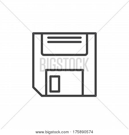 Floppy disk line icon outline vector sign linear style pictogram isolated on white. Save symbol logo illustration. Editable stroke. Pixel perfect