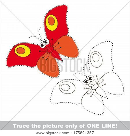 Red butterfly to be traced only of one line, the tracing educational game to preschool kids with easy game level, the colorful and colorless version.